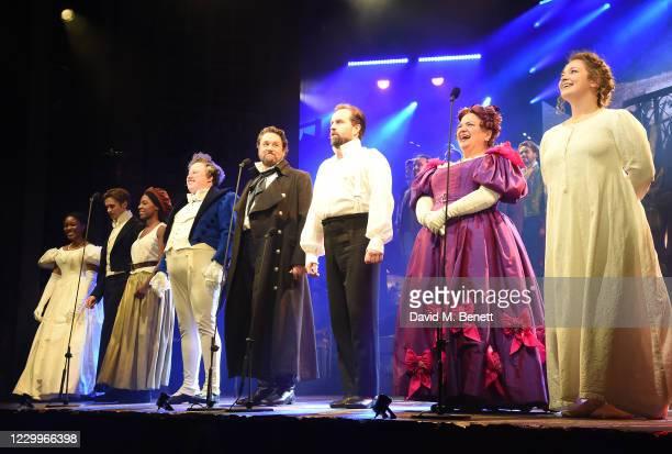 Amara Okereke, Rob Houchen, Shan Ako, Matt Lucas, Michael Ball, Alfie Boe, Katy Secombe and Carrie Hope Fletcher bow at the curtain call during the...