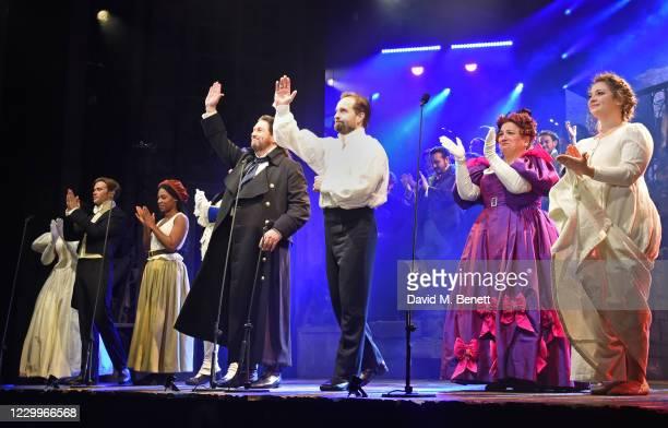 Amara Okereke, Rob Houchen, Shan Ako, Michael Ball, Alfie Boe, Katy Secombe and Carrie Hope Fletcher bow at the curtain call during the return of...