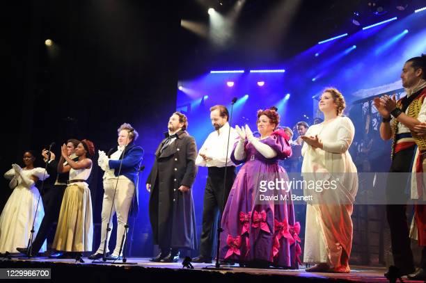 Amara Okereke, Rob Houchen, Shan Ako, Michael Ball, Alfie Boe, Katy Secombe, Carrie Hope Fletcher and Bradley Jaden bow at the curtain call during...
