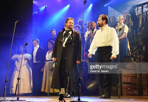 """Amara Okereke, Rob Houchen, Shan Ako, Michael Ball and Alfie Boe bow at the curtain call during the return of """"Les Miserables: The Staged Concert"""" to..."""