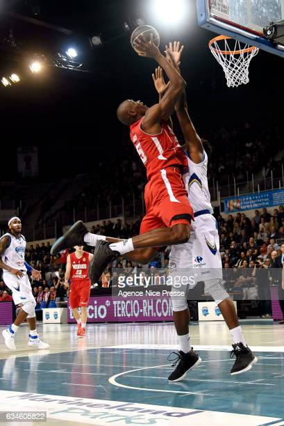 Amara Sy of Monaco during the french Pro A match between Antibes Sharks and As Monaco on February 10 2017 in Antibes France