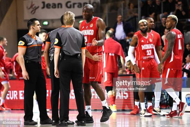 Amara Sy of Monaco with referee during the french Pro A match between Antibes Sharks and As Monaco on February 10 2017 in Antibes France