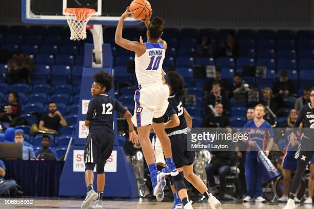 Amarah Coleman of the DePaul Blue Demons takes a jump shot during a women's college basketball game against the Xavier Musketeers at Wintrust Arena...