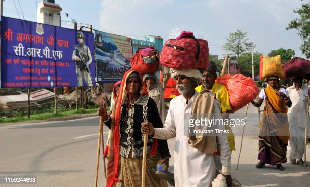 Amaranth pilgrims arrives at a base camp on August 2 2019 in Jammu India The state government citing security scenario issued an advisory asking...