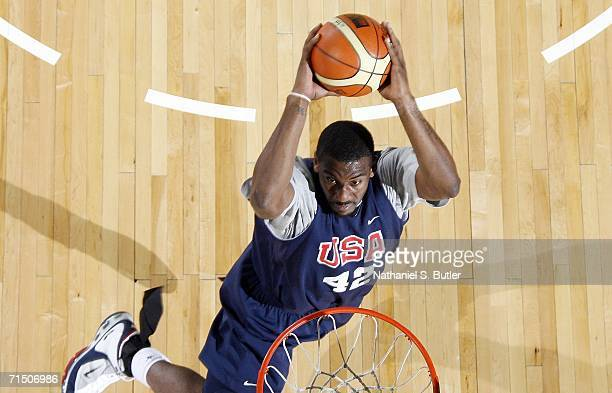 Amare Stoudamire dunks during USA Senior Men's National Team practice on July 23 2006 at the Cox Pavilion in Las Vegas Nevada NOTE TO USER User...