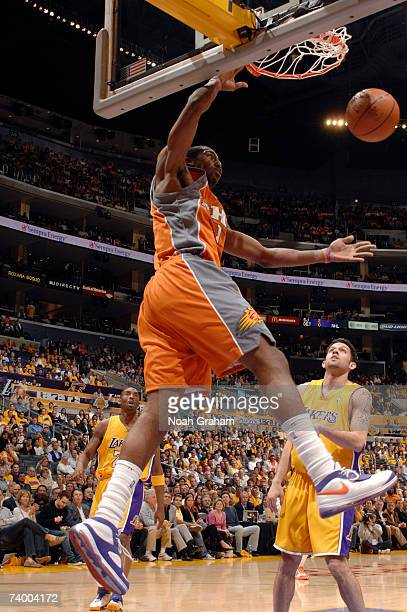 Amare Stoudamire of the Phoenix Suns dunks against the Los Angeles Lakers in Game Three of the Western Conference Quarterfinals during the 2007 NBA...