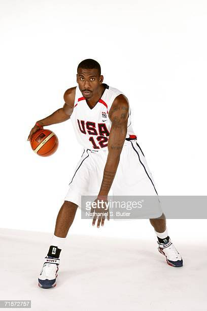 Amare Stoudamire poses during USA Senior Men's National Team practice on August 2 2006 at the Thomas Mack Center in Las Vegas Nevada NOTE TO USER...