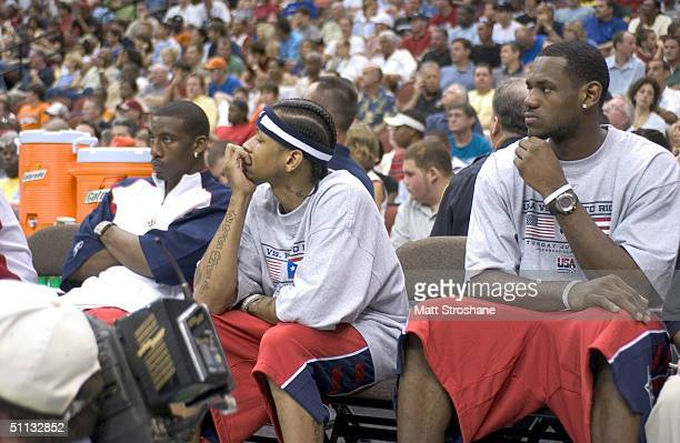 Amare Stoudemire Allen Iverson and LeBron James of the USA Basketball Men's Senior National Team sit on the bench during an exhibition game against...