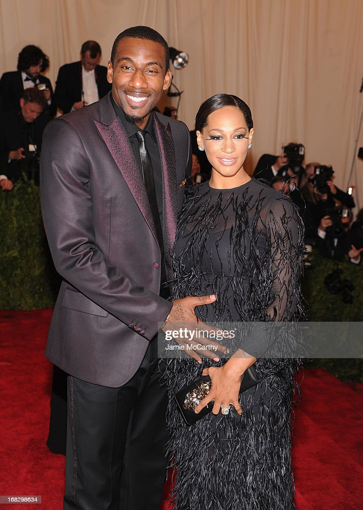 Amar'e Stoudemire and Alexis Welch attend the Costume Institute Gala for the 'PUNK: Chaos to Couture' exhibition at the Metropolitan Museum of Art on May 6, 2013 in New York City.