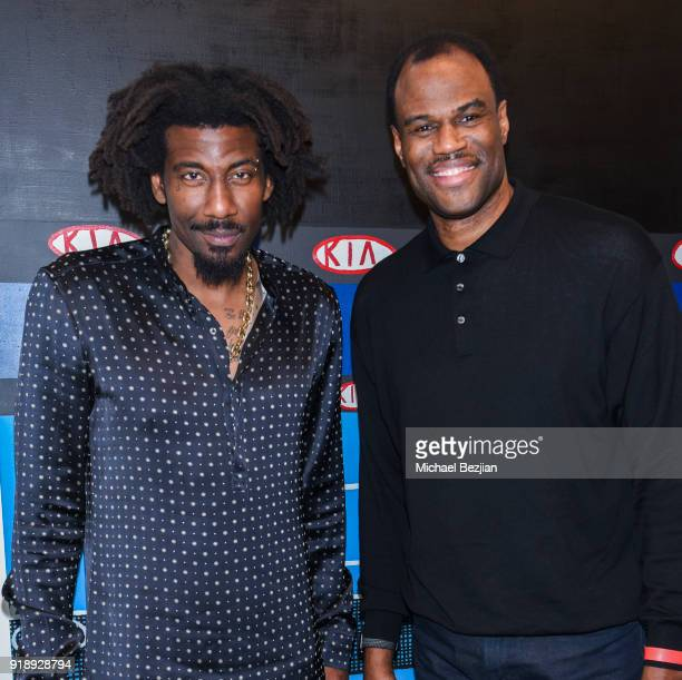 Amare Stoudemire and David Robinson at Amare Stoudemire hosts ART OF THE GAME art show presented by Sotheby's and Joseph Gross Gallery on February 15...