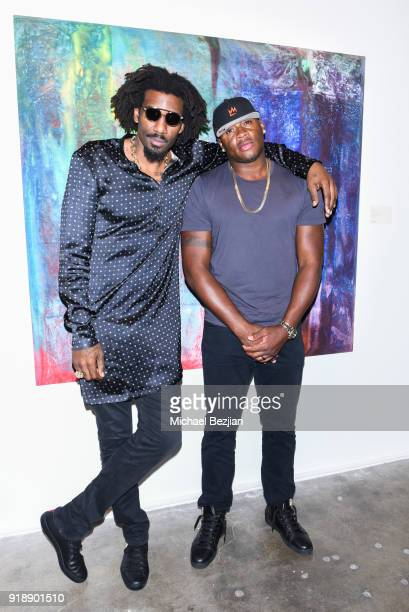 Amare Stoudemire and Desmond Mason attend Amare Stoudemire hosts ART OF THE GAME art show presented by Sotheby's and Joseph Gross Gallery on February...