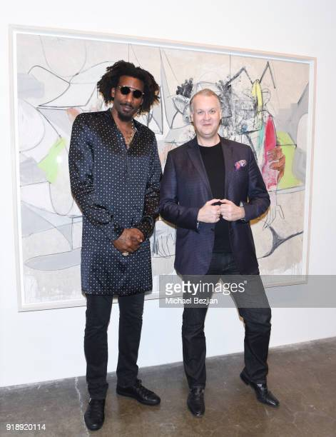 Amare Stoudemire and Eric Shiner attend Amare Stoudemire hosts ART OF THE GAME art show presented by Sotheby's and Joseph Gross Gallery on February...