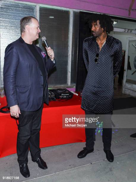 Amare Stoudemire and Eric Shiner speak at Amare Stoudemire hosts ART OF THE GAME art show presented by Sotheby's and Joseph Gross Gallery on February...