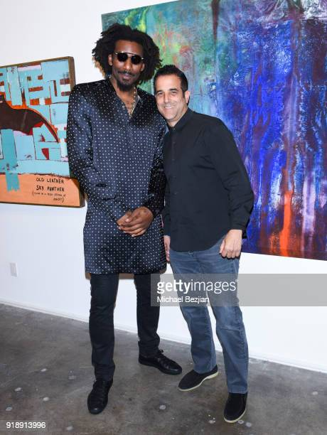 Amare Stoudemire and Happy Walters attend Amare Stoudemire hosts ART OF THE GAME art show presented by Sotheby's and Joseph Gross Gallery on February...