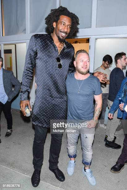 Amare Stoudemire and Joseph Gross at Amare Stoudemire hosts ART OF THE GAME art show presented by Sotheby's and Joseph Gross Gallery on February 15...
