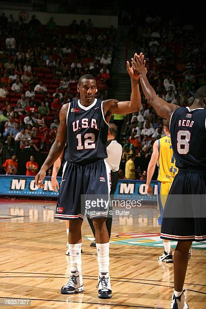 Amare Stoudemire and Michael Redd of the USA Men's Senior National Team celebrate against Brazil during the first round of the 2007 FIBA Americas...