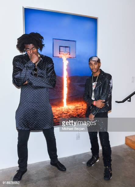 Amare Stoudemire and Skyler Grey at Amare Stoudemire hosts ART OF THE GAME art show presented by Sotheby's and Joseph Gross Gallery on February 15...
