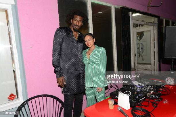 Amare Stoudemire and Venus X attend Amare Stoudemire hosts ART OF THE GAME art show presented by Sotheby's and Joseph Gross Gallery on February 15...