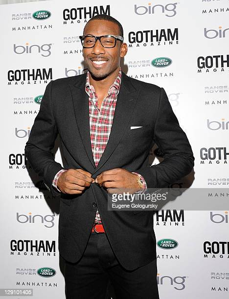 Amar'e Stoudemire attends Gotham Magazine's celebration of its Men's Issue with bachelors and cover star Amar'e Stoudemire on October 12 2011 in New...