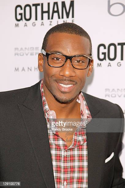 Amar'e Stoudemire attends the Gotham Magazine Men's Issue cover party at Land Rover of Manhattan on October 12 2011 in New York City