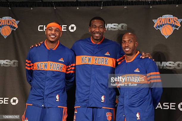 Amar'e Stoudemire Chauncey Billups and Carmelo Anthony of the New York Knicks pose during the press conference prior to the game against the...