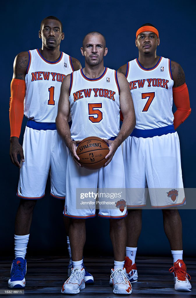 Amar'e Stoudemire #1, Jason Kidd #5 and Carmelo Anthony #7 of the New York Knicks poses for a portrait during Media Day on October 1, 2012 at the Knicks Training Facility in Greeburgh, New York.