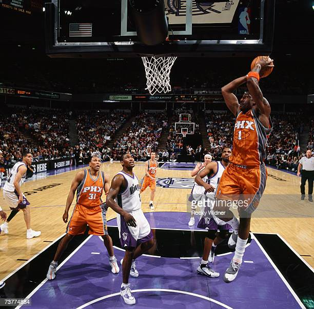 Amare Stoudemire of Phoenix Suns elevates for a dunk during a game against the Sacramento Kings at Arco Arena on March 25 2007 in Sacramento...