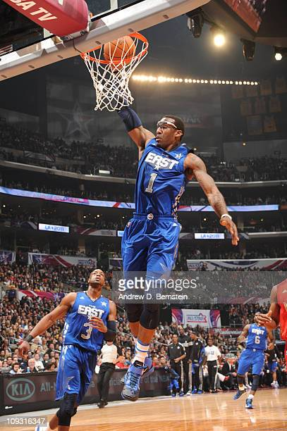 Amar'e Stoudemire of the Eastern Conference AllStars dunks against the Western Conference AllStars in the 2011 NBA AllStar Game at Staples Center on...