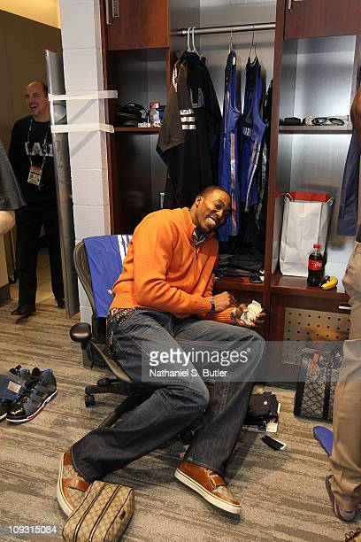 Amar'e Stoudemire of the Eastern Conference AllStars laughs in the locker room prior to the 2011 NBA AllStar Game on February 20 2011 at the Staples...
