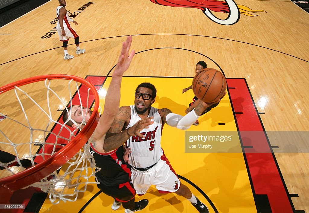 Amar'e Stoudemire #5 of the Miami Heat drives to the basket against the Miami Heat in Game Four of the Eastern Conference Semifinals during the 2016 NBA Playoffs on May 9, 2016 at American Airlines Arena in Miami, Florida.