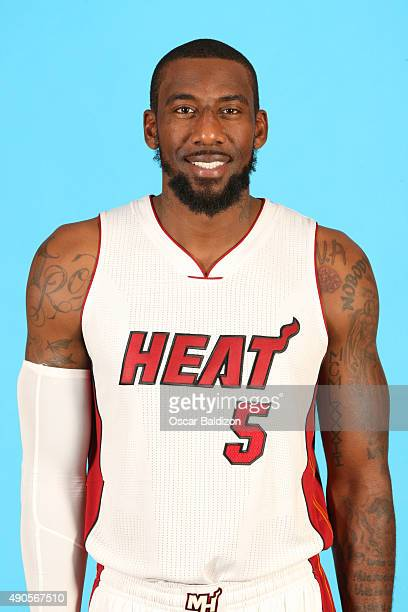 Amar'e Stoudemire of the Miami Heat poses for a portrait during the 2015 Media Day on September 28 2015 at the American Airlines Arena in Miami...