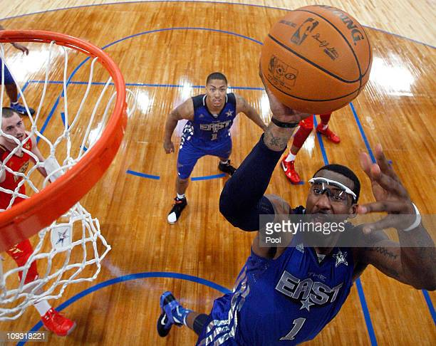 Amare Stoudemire of the New York Knicks and the Eastern Conference goes up for a shot in the lane in the 2011 NBA AllStar Game at Staples Center on...