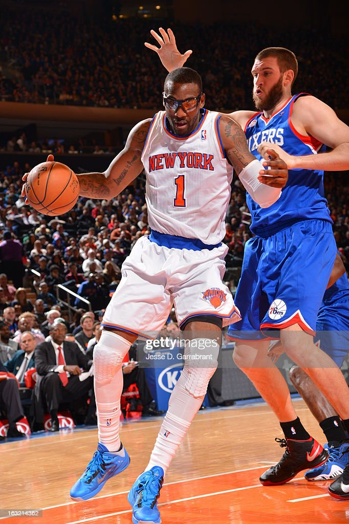 Amar'e Stoudemire #1 of the New York Knicks drives to the basket against the Philadelphia 76ers on February 24, 2013 at Madison Square Garden in New York City, New York.