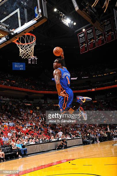 Amar'e Stoudemire of the New York Knicks dunks against the Miami Heat during the game on February 27 2011 at the American Airlines Arena in Miami...