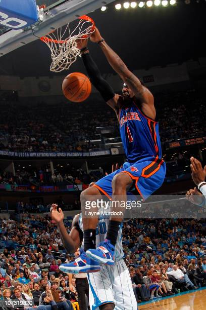 Amar'e Stoudemire of the New York Knicks dunks on the New Orleans Hornets on December 3 2010 at the New Orleans Arena in New Orleans Louisiana NOTE...