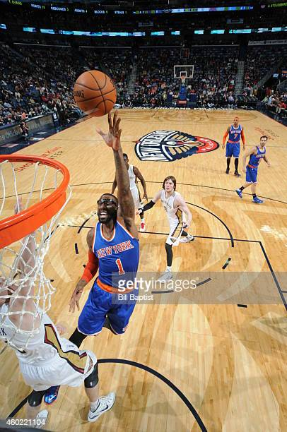 Amar'e Stoudemire of the New York Knicks goes to the basket against the New Orleans Pelicans on December 9, 2014 at the Smoothie King Center in New...