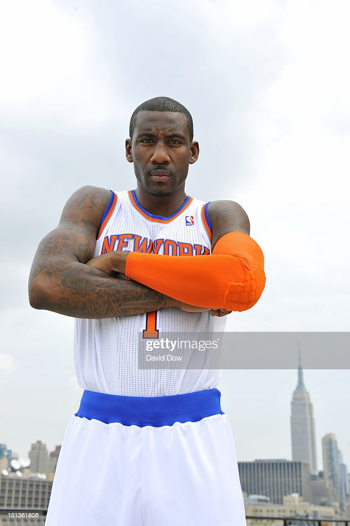 Amar'e Stoudemire #1 of the New York Knicks poses as the team unveil's new uniforms on September 6, 2012 in New York City.