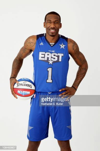 Amar'e Stoudemire of the New York Knicks poses for a portrait wearing his AllStar uniform on January 26 2011 at the MSG Training Facility in...