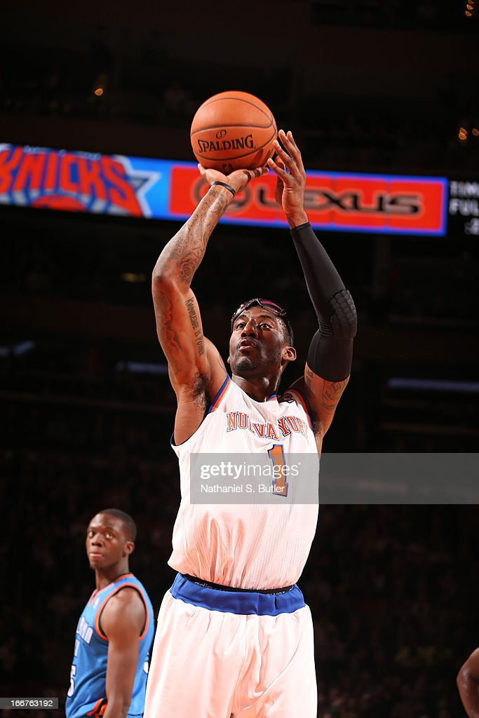 Amar'e Stoudemire #1 of the New York Knicks shoots a free throw during the game against the Oklahoma City Thunder on March 7, 2013 at Madison Square Garden in New York City.