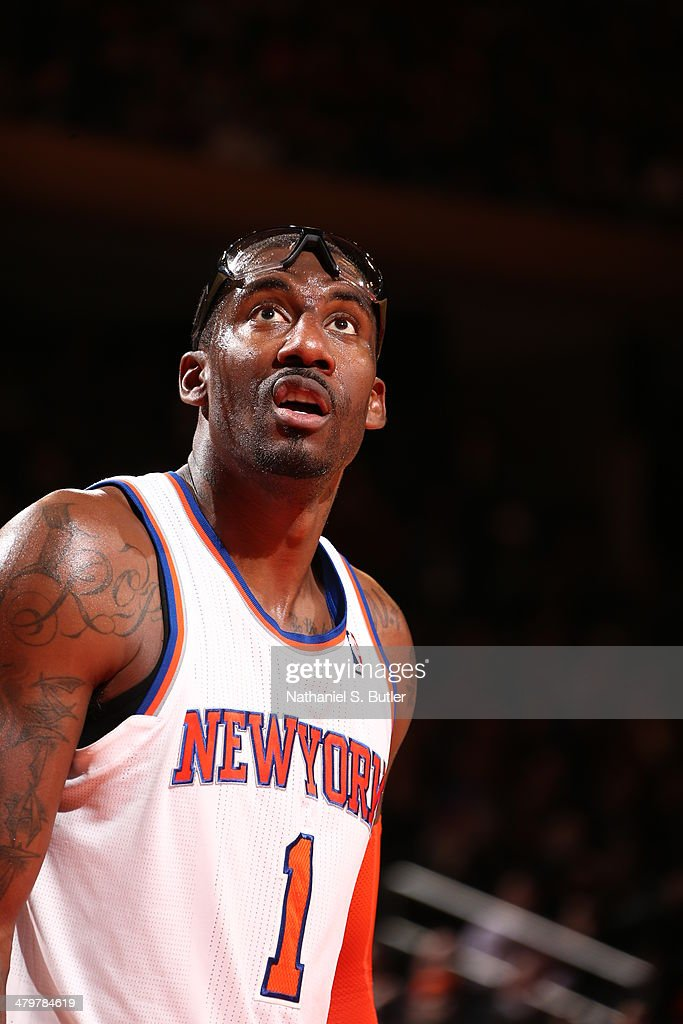 Amar'e Stoudemire #1 of the New York Knicks stands on the court during a game against the Indiana Pacers at Madison Square Garden in New York City on March 19, 2014.