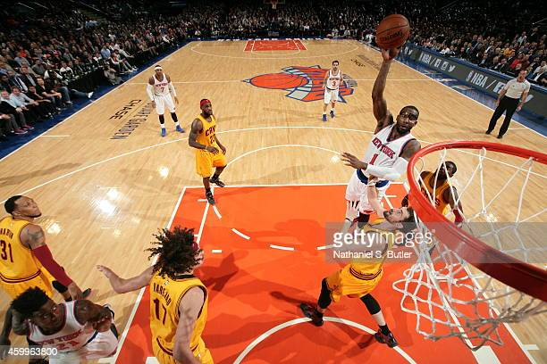 Amar'e Stoudemire of the New York Knicks takes a shot against the Cleveland at Madison Square Garden in New York City, New York on December 4, 2014....