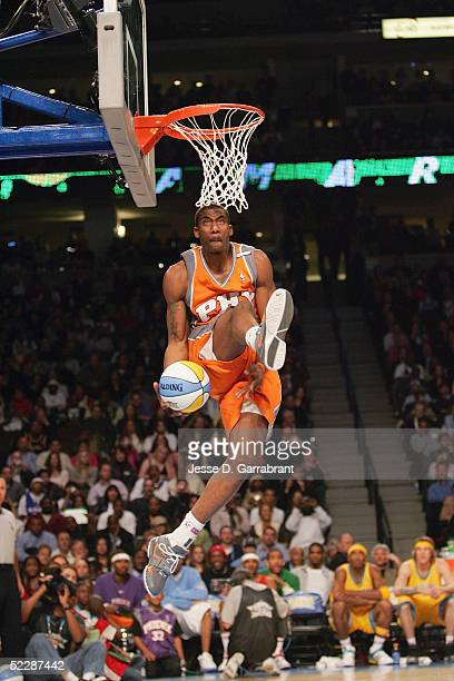 Amare Stoudemire of the Phoenix Suns attempts a dunk in the Sprite Rising Stars Slam Dunk Competition during 2005 NBA AllStar Weekend at the Pepsi...