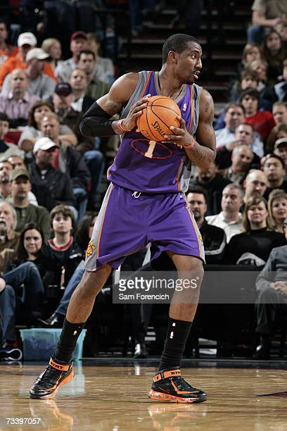 Amare Stoudemire of the Phoenix Suns controls the ball during the NBA game against the Portland Trail Blazers at Rose Garden on February 6 2007 in...