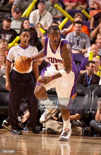 Amare Stoudemire of the Phoenix Suns drives against the Detroit Pistons in an NBA game played on March 16 at US Airways Center in Phoenix Arizona...