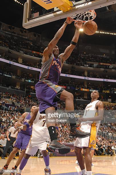 Amare Stoudemire of the Phoenix Suns dunks against the Los Angeles Lakers during the game at Staples Center on December 25 2007 in Los Angeles...