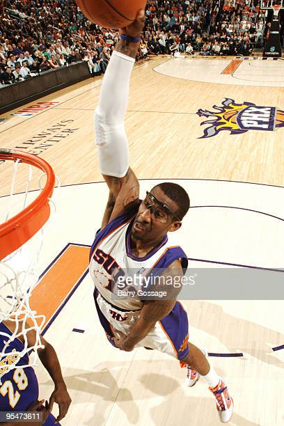 Amare Stoudemire of the Phoenix Suns dunks against the Los Angeles Lakers in an NBA Game played on December 28 2009 at US Airways Center in Phoenix...