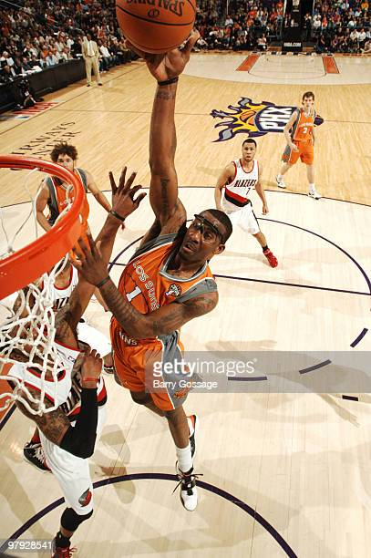Amare Stoudemire of the Phoenix Suns dunks against the Portland Trail Blazers in an NBA Game played on March 21 2010 at US Airways Center in Phoenix...