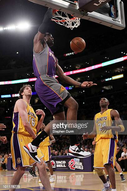 Amar'e Stoudemire of the Phoenix Suns dunks the ball against the Los Angeles Lakers in the first quarter of Game Five of the Western Conference...