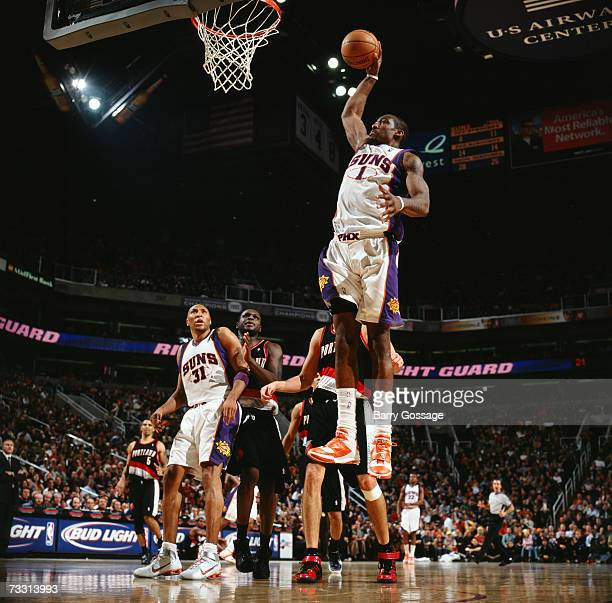 Amare Stoudemire of the Phoenix Suns elevates for a dunk during a game against the Portland Trail Blazers at US Airways Center on January 19 2007 in...