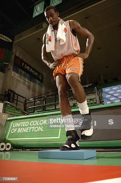 Amare Stoudemire of the Phoenix Suns exercises during practice during the NBA Europe Live Tour on October 2, 2006 at Palaverde in Treviso, Italy....